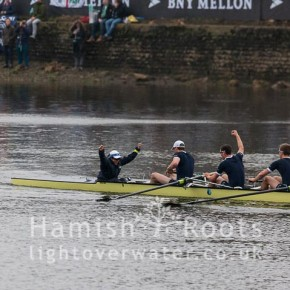Team members of Isis, Oxford Reserve crew, congratulate each other in beating Cambridge's Goldie in the Reserve Race