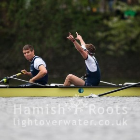 Oxford crew members celebrate victory over Cambridge